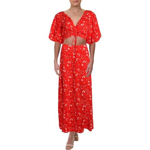 Free People Womens Danni Jane Skirt Outfit Printed Crop Top - 12