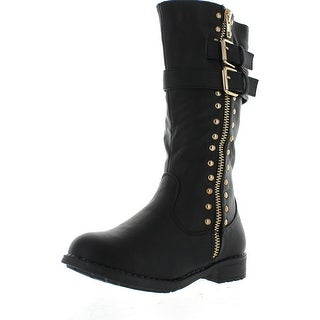 Puzzle Ana-09 Children Girl's Comfort Mid Calf Studed Side Zipper Strap Boots