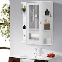Gymax Bathroom Cabinet Single Door Shelves Wall Mount Cabinet W/ Mirror Organizer