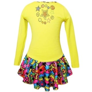 Ice Fire Skate Wear Yellow Peace Stars Rainbow Skates Dress Girl 5-12