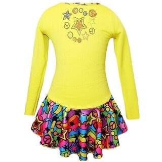 Ice Fire Skate Wear Yellow Peace Stars Rainbow Skates Dress Girl 5-12