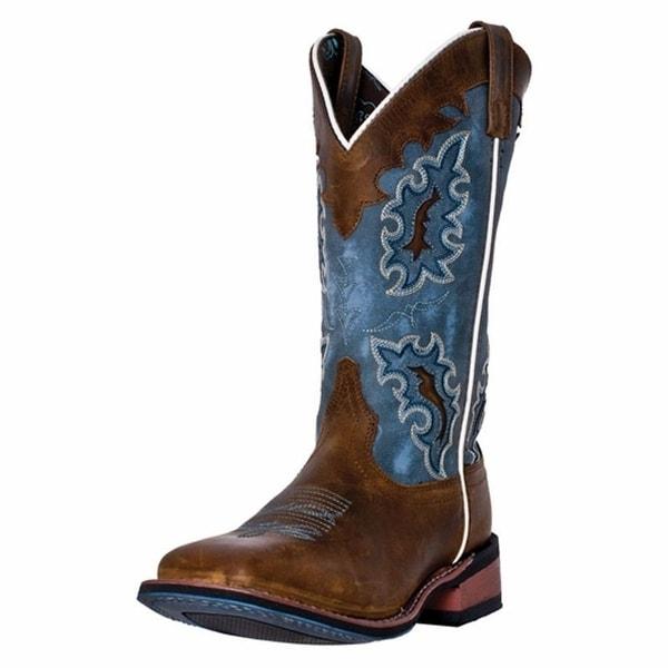 Laredo Western Boots Womens Stockman Square Toe Tan Blue Denim