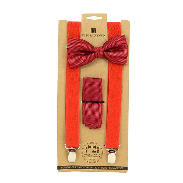 Men's Red Solid 3 PC Clip-on Suspenders, Bow Tie and Hanky Sets