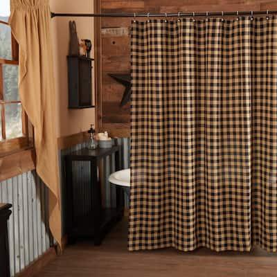 Burlap Black Check Shower Curtain 72x72