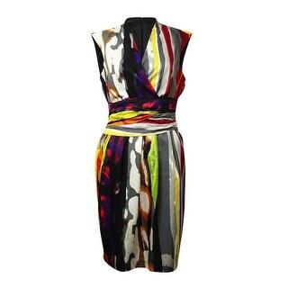 Ellen Tracy Women's Faux Wrap Surplice Dress - Grey Multi