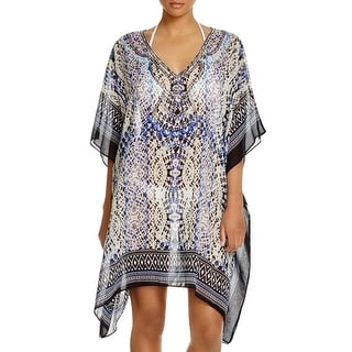 Parker Beach Womens Embellished Printed Kimono Swim Cover-Up