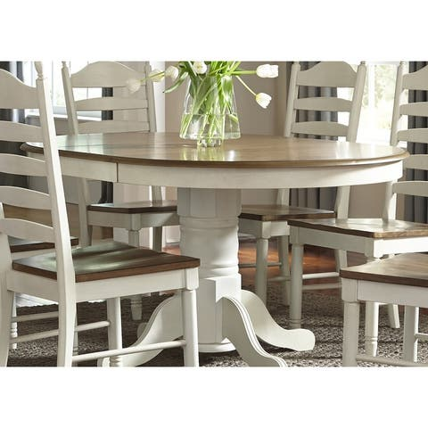 The Gray Barn Careyes 42x60 Single Pedestal Oval Dinette Table - Cream