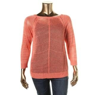 LRL Lauren Jeans Co. Womens Linen Open Stitch Pullover Sweater