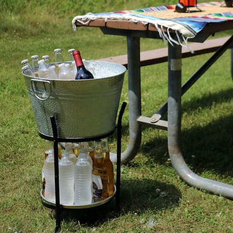Sunnydaze Pebbled Galvanized Steel Ice Bucket Drink Cooler with Stand and Tray - Silver