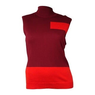 Vince Camuto Women's Sleeveless Mock Neck Colorblocked Sweater (XL, Wine) - xL
