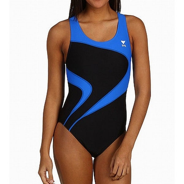 4efb8d78ca31e TYR Black Blue Women  x27 s Size Large L One-Piece Colorblock Swimwear