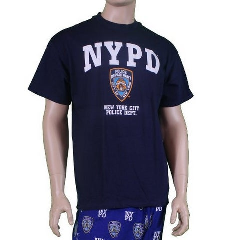 NYPD Short Sleeve with NYPD Logo and Shield Print T-Shirt Navy Xl