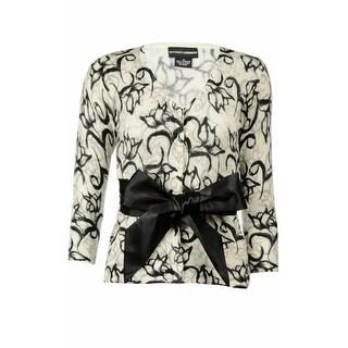 Sutton Studio Womens Cashmere Floral Wrap Cardigan Misses Black/White