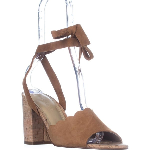 Marc Fisher Piya Scalloped Lace Up Sandals, Medium Brown