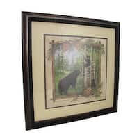 Framed Black Bear and Cubs Forest Watercolor Print 16 X 16 In.
