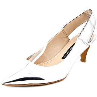 French Connection Kourtney Women Peep-Toe Synthetic Silver Slingback Heel