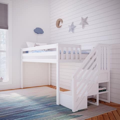 Max & Lily Twin-Size Low Loft with Stairs