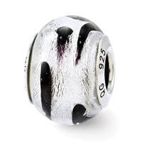 Italian Sterling Silver Reflections Silver/Black Glass Bead (4mm Diameter Hole)