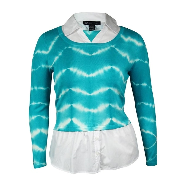 INC International Concepts Women's Tie-Dyed Layered Sweater