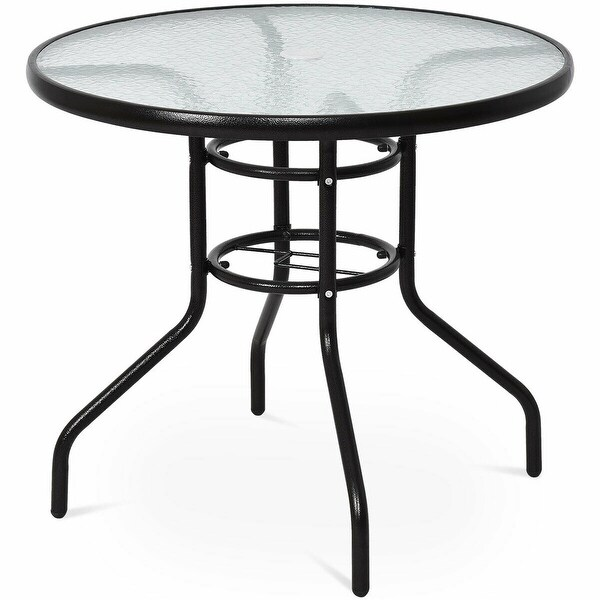 Costway 31 1/2'' Patio Round Table Steel Frame Dining Table Patio Furniture Glass Top - as pic