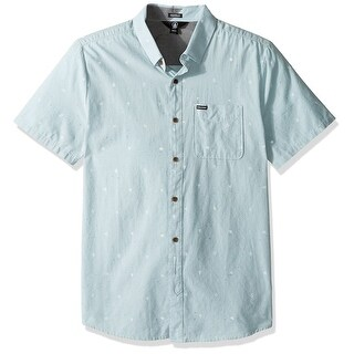 Volcom NEW Blue Mens Size Large L Button Down Printed Short-Sleeve Shirt