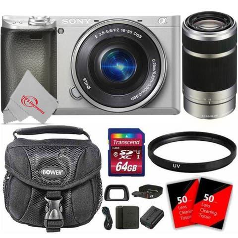 Sony Alpha a6400 Mirrorless Digital Camera with 16-50mm Lens (Silver) + 55-210mm Lens + 64GB Memory Card Bundle