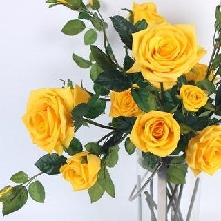 "FloralGoods Real Touch 5 Rose Bloom Stem in Yellow 38"" Tall"