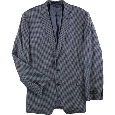 Ralph Lauren Mens Navy Check Two Button Suit - 50 Long / W x L