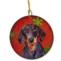 Dachshund Red Snowflake Holiday Christmas Ceramic Ornament