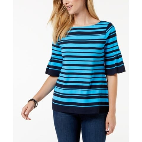 Charter Club Blue Women's Size XS Striped Bell Sleeve Blouse