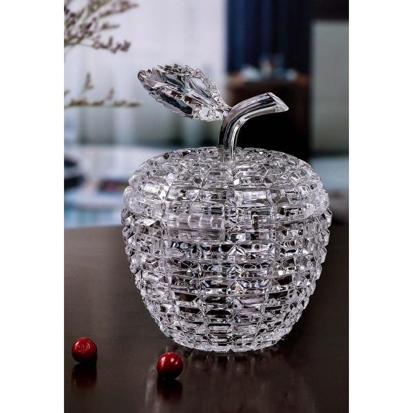 "Set of 4 Clear Diamond Cut Apple Shaped Jar 5.5"" - N/A"