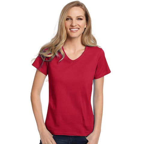 Hanes Relaxed Fit Women's ComfortSoft® V-neck T-Shirt - Size - L - Color - Deep Red