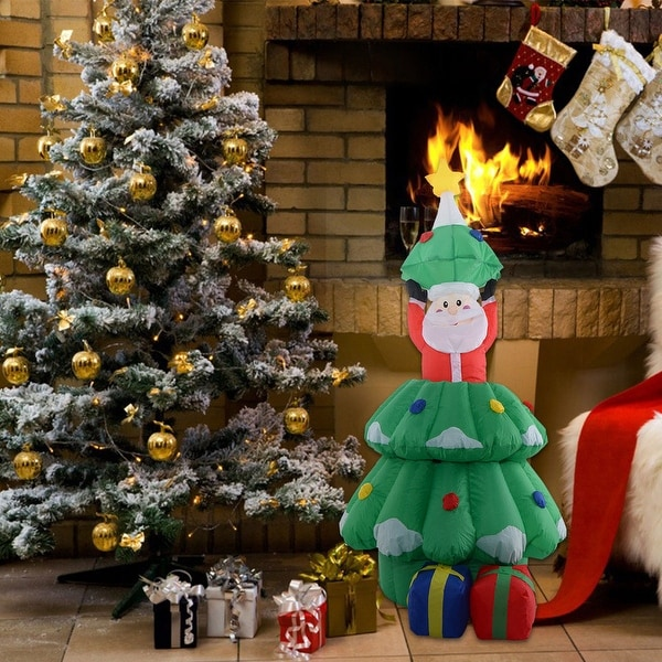 Costway 5 Ft Airblown Inflatable Santa Claus In Christmas Tree Decor Lawn Yard Outdoor - green