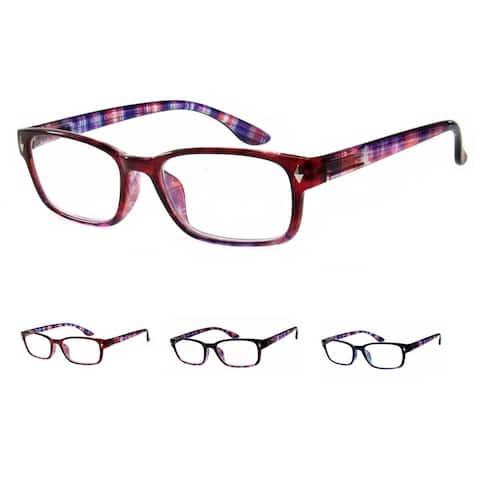 Unisex Square Colored Reading Glasses - 4 Pair Pack