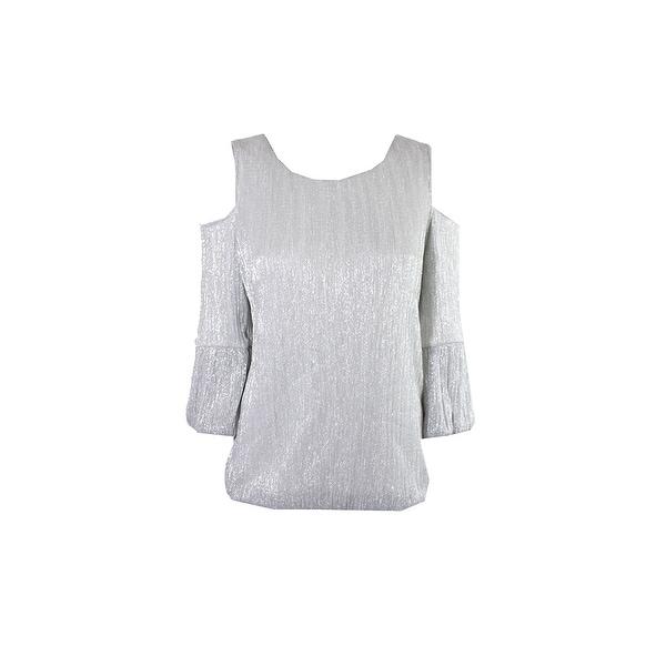 614984ba4face Shop Inc International Concepts Silver Glitter Cold-Shoulder Top L ...