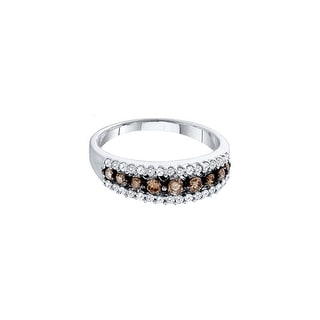 14kt White Gold Womens Round Cognac-brown Colored Diamond Band Fashion Ring 1/2 Cttw - Brown