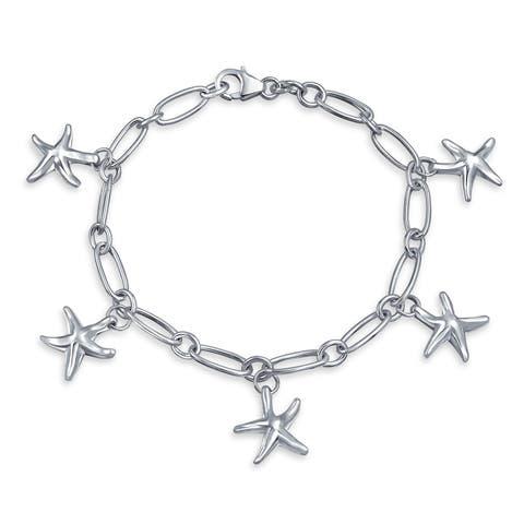 Nautical Five Starfish Beach Charm Link Bracelet For Women Dangle Sea Life 925 Sterling Silver 7.5 Inch