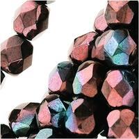 Czech Fire Polished Glass Beads 6mm Round 'Metallic Amethyst Luster' (25)
