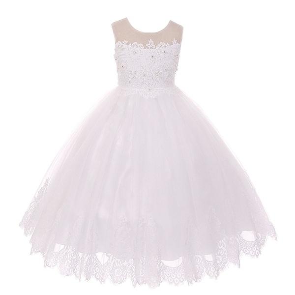 581ebe9ea Shop Kids Dream Girls White Lace Stone Applique Tulle Communion ...