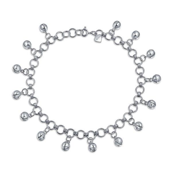 Multi Jingle Bells Pattilu India Dangle Charms Anklet Ankle Bracelet For Women 925 Sterling Silver 9.5 Inch