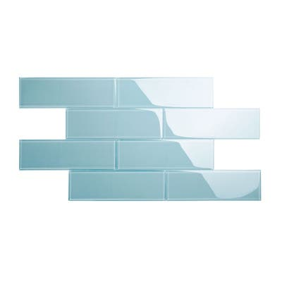 Morning Sky Blue 4x12 Glass Subway Tile