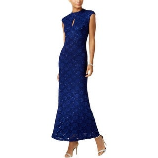 Connected Apparel Womens Evening Dress Lace Mock Neck