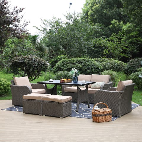 PHI VILLA 6-Piece Outdoor Rattan Sectional Sofa Conversation Set Deep Seating with a Fashonable Patio Table