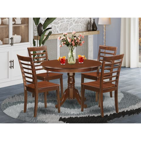 5 Pc set with a Kitchen Table and 4 Kitchen Chairs in Mahogany (Finish Option)