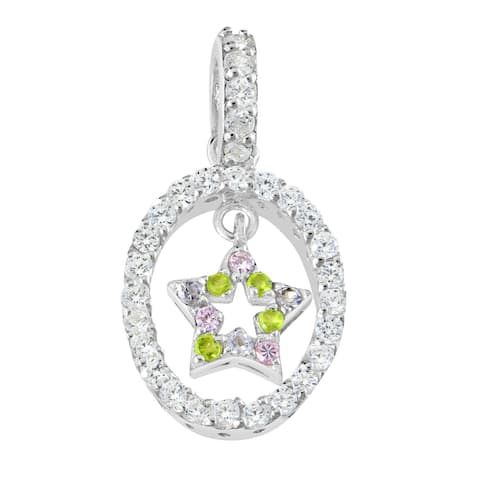 Handmade Sparkling Green and Pink Cubic Zirconia Star in an Oval Sterling Silver Pendant (Thailand)