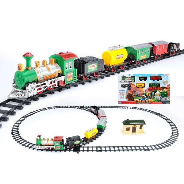18-Piece Battery Operated Lighted and Animated Classic Model Train Set with Sound