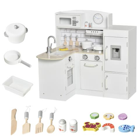 Qaba Kids Kitchen Play Cooking Toy Set for Children with Drinking Fountain, Microwave, & Fridge plus Accessories