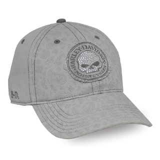 Harley-Davidson Women's Willie G Skull Stone Washed Baseball Cap, Gray BC102954|https://ak1.ostkcdn.com/images/products/is/images/direct/a75f59fe84ebe74c62b19a68fd74f220a6128ed3/Harley-Davidson-Women%27s-Willie-G-Skull-Stone-Washed-Baseball-Cap%2C-Gray-BC102954.jpg?impolicy=medium