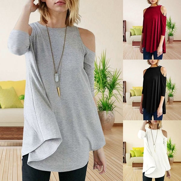 f660994453b109 Fashion Off Shoulder Loose Top 3 4 Sleeve Long T-Shirt Women Solid Color