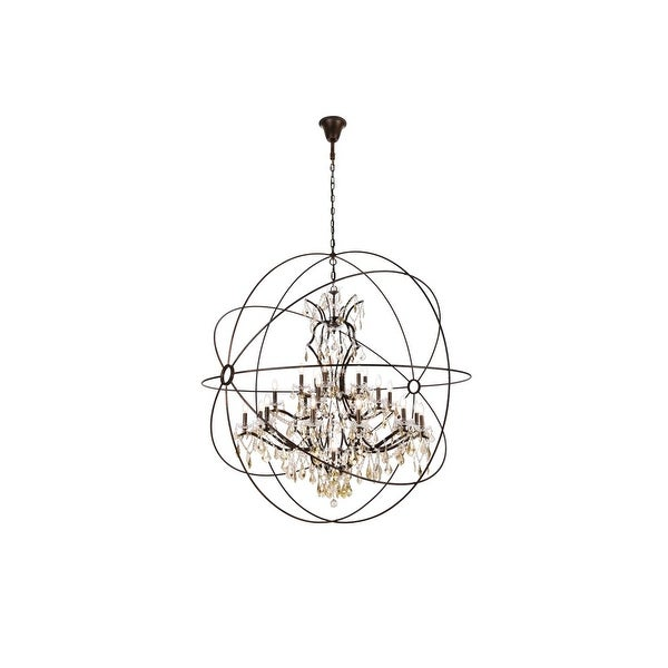 Royce Edge 25-Light Dark Bronze Chandelier - dark bronze (royal cut clear crystals). Opens flyout.